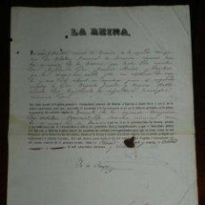 Militaria: NOMBRAMIENTO, LA REINA ISABEL II EN PALACIO OCTUBRE DE 1857, NOMBRA A TENIENTE DE INFANTERIA, FIRMA . Lote 183671480