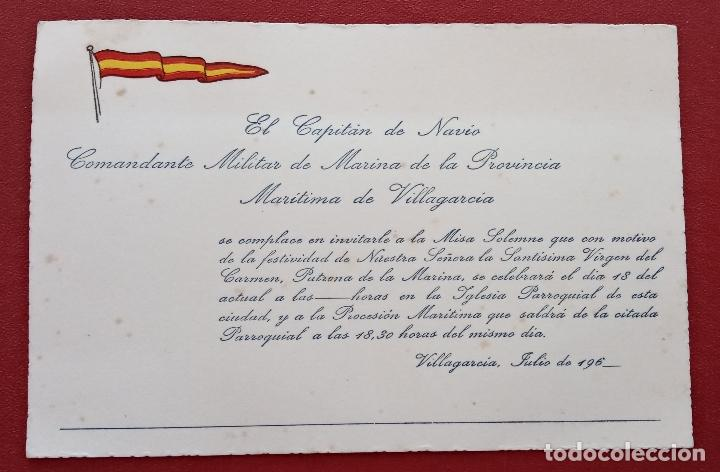 Tarjeta De Invitacion Por Capitan De Navio A Misa Solenme Virgen Del Carmen Maritima De Villagarcia