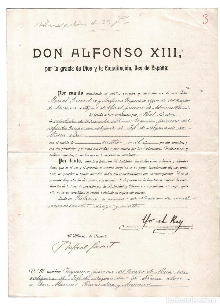 CONCESIÓN INGENIERO PRIMERO DE MINAS. FIRMA ORIGINAL MINISTRO DE INDUSTRIA RAFAEL GASSET. 1917. (Militar - Propaganda y Documentos)