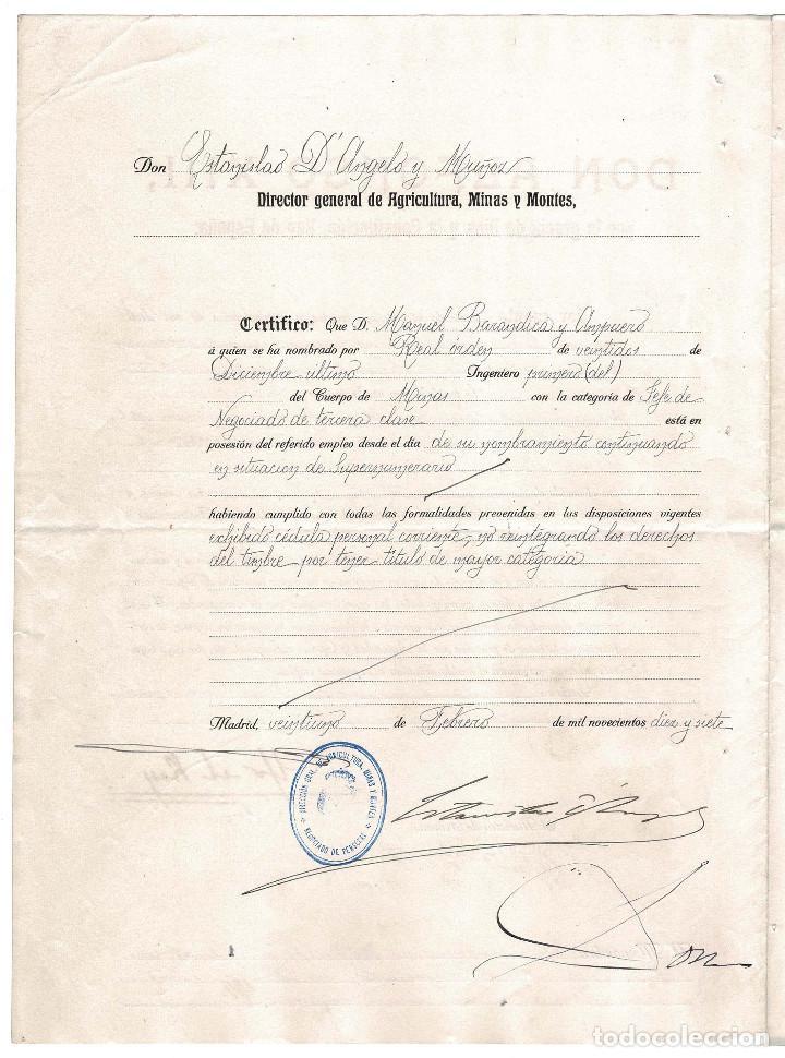 Militaria: CONCESIÓN INGENIERO PRIMERO DE MINAS. FIRMA ORIGINAL MINISTRO DE INDUSTRIA RAFAEL GASSET. 1917. - Foto 2 - 183777085