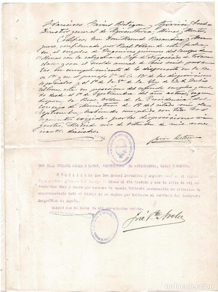 Militaria: CONCESIÓN INGENIERO PRIMERO DE MINAS. FIRMA ORIGINAL MINISTRO DE INDUSTRIA RAFAEL GASSET. 1917. - Foto 3 - 183777085