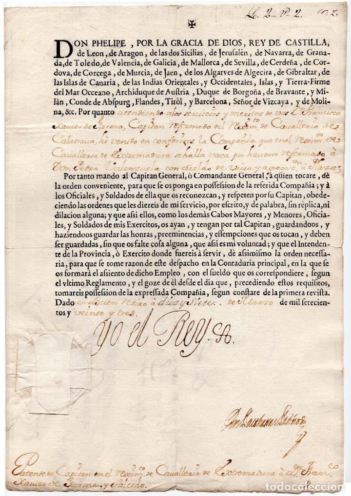 CAPITÁN DE CABALLERÍA REG. EXTREMADURARA .- FIRMA FELIPE V 1723. (Militar - Propaganda y Documentos)
