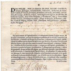 Militaria: CAPITÁN DE CABALLERÍA REG. EXTREMADURARA .- FIRMA FELIPE V 1723.. Lote 183794971