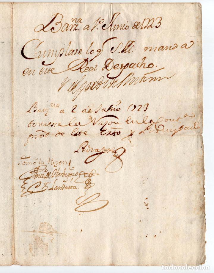 Militaria: CAPITÁN DE CABALLERÍA REG. EXTREMADURARA .- FIRMA FELIPE V 1723. - Foto 2 - 183794971