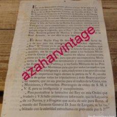 Militaria: 1795. LEVA URGENTE DE 4500 MARINEROS, PARA LA DEFENSA DE CADIZ,FIRMA MARQUES DE UZTARIZ. Lote 184086531