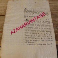 Militaria: 1794. REDUCCION DE TALLA Y EDAD PARA ALISTAMIENTO, POR CARECER DE EFECTIVOS, FIRMA MARQUES UZTARIZ. Lote 184086973
