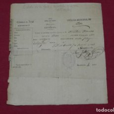 Militaria: (M) GUERRA CARLISTA - CARLISMO - DOCUMENTO CELULA DE LA JUNTA DIPUTACION DE LA GUERRA CARLISTA 1875. Lote 184093168