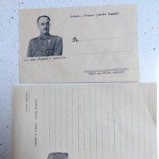 Militaria: SOBRE Y CUARTILLA CON FOTO DEL GENERAL FRANCO,NUEVO Y DIFICIL DE ENCONTRAR. Lote 184190902