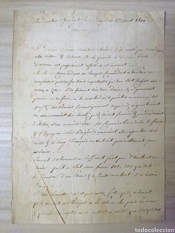 BURGOS 1810 ORDEN DEL DIA FRANCESA ATAQUE DE ESPOZ Y MINA (Militar - Propaganda y Documentos)