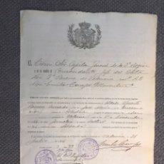 Militaria: MILITAR. CHELVA (VALENCIA), LICENCIA TOTAL DESPUÉS DE 12 AÑOS DE SERVICIO Y RESERVISMO (A.1916). Lote 184866072