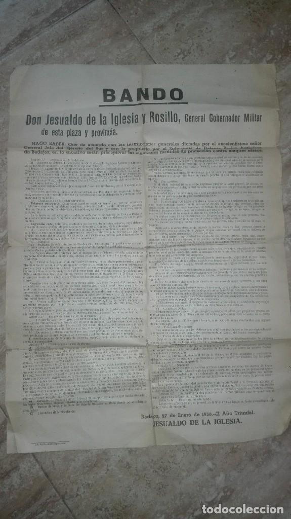 BANDO GUERRA CIVIL BADAJOZ. DEFENSA PASIVA ANTIAEREA. (Militar - Propaganda y Documentos)