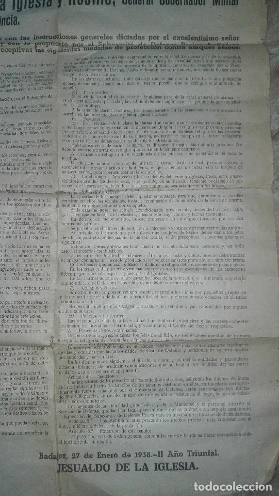 Militaria: BANDO GUERRA CIVIL BADAJOZ. DEFENSA PASIVA ANTIAEREA. - Foto 4 - 186142401