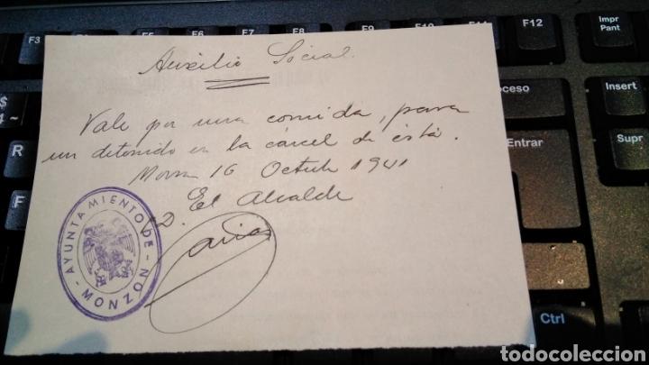 VALE PARA UNA COMIDA , AUXILIO SOCIAL , AYUNTAMIENTO DE MONZON 1941 - POS GUERRA CIVIL (Militar - Propaganda y Documentos)