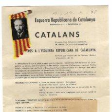 Militaria: DOCUMENTO INFORMATIVO PARA AFILIARSE A ESQUERRA REPUBLICANA DE CATALUNYA. . Lote 188687667
