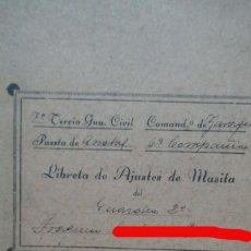 Militaria: CUARDIA CIVIL LIBRETA DE MASITA. ZARAGOZA AÑO 1940. 10 X 16 CM. Lote 188751231