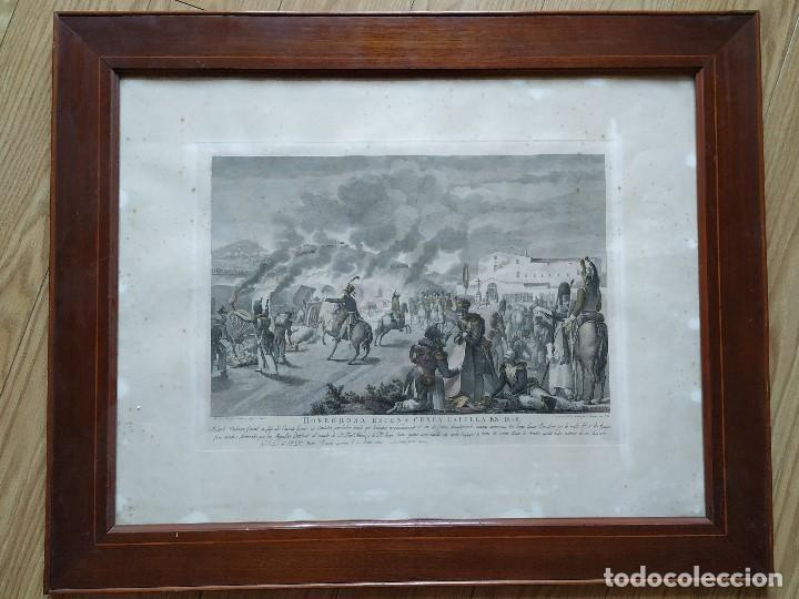 GUERRA INDEPENDENCIA GRABADO . HORROROSA ESCENA CERCA DE CALELLA 1808. COLOREADO DE EPOCA BARCELONA (Militar - Propaganda y Documentos)