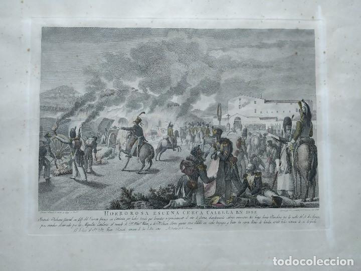 Militaria: GUERRA INDEPENDENCIA GRABADO . HORROROSA ESCENA CERCA DE CALELLA 1808. COLOREADO DE EPOCA BARCELONA - Foto 2 - 188832592