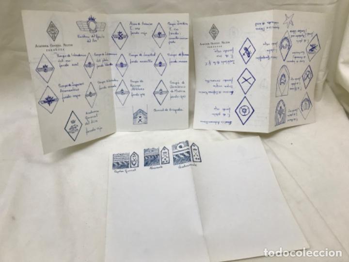 ACADEMIA GENERAL MILITAR DE ZARAGOZA 3 HOJAS PAPEL OFICIAL DIBUJOS DE EMBLEMAS INSIGNIAS MILITARES (Militar - Propaganda y Documentos)