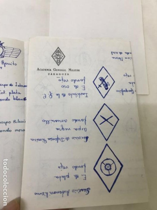Militaria: Academia general militar de zaragoza 3 hojas papel oficial dibujos de emblemas insignias militAres - Foto 3 - 189194541