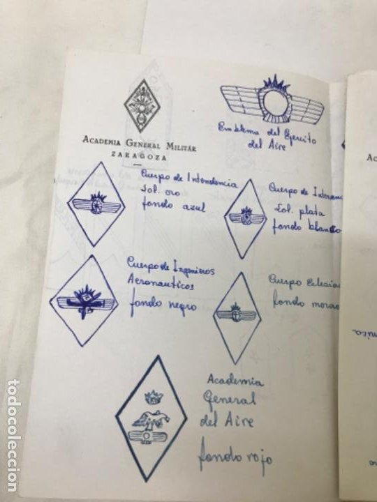Militaria: Academia general militar de zaragoza 3 hojas papel oficial dibujos de emblemas insignias militAres - Foto 4 - 189194541