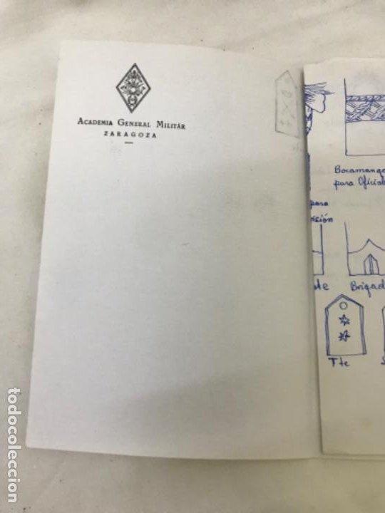 Militaria: Academia general militar de zaragoza 3 hojas papel oficial dibujos de emblemas insignias militAres - Foto 5 - 189194541