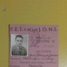 Militaria: CARNET FALANGE PROVISIONAL 1946.. Lote 189678676