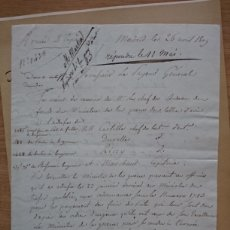 Militaria: MADRID GUERRA DE LA INDEPENDENCIA - CARTA DEL GENERAL BERGE AL GENERAL CROCHARD FUERTE DEL RETIRO. Lote 189937765