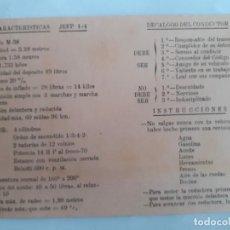 Militaria: TARJETA JEEP M-38 INFANTERÍA DE MARINA . Lote 189941442