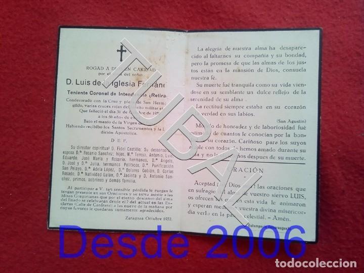 Militaria: TUBAL 1932 RECORDATORIO TENIENTE CORONEL DE INTENDENCIA ESCLAVAS ZARAGOZA 25 GRS B31 - Foto 2 - 190181565