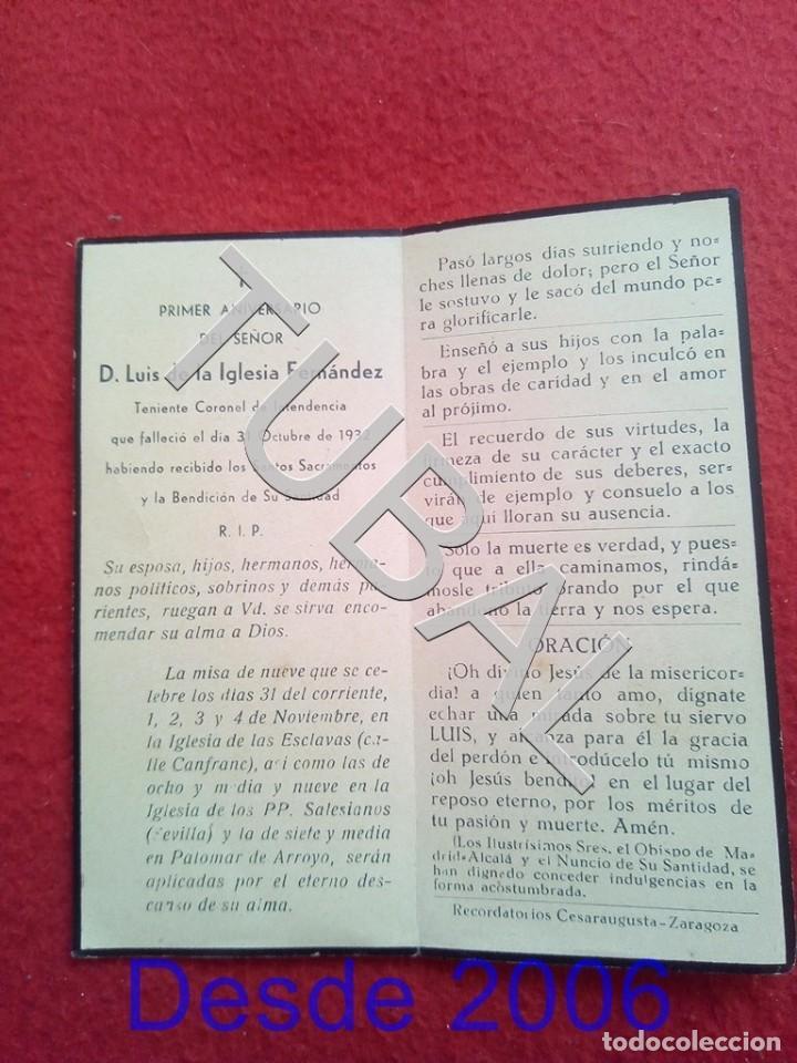 Militaria: TUBAL 1932 RECORDATORIO TENIENTE CORONEL DE INTENDENCIA ESCLAVAS ZARAGOZA 25 GRS B32 - Foto 2 - 190183160