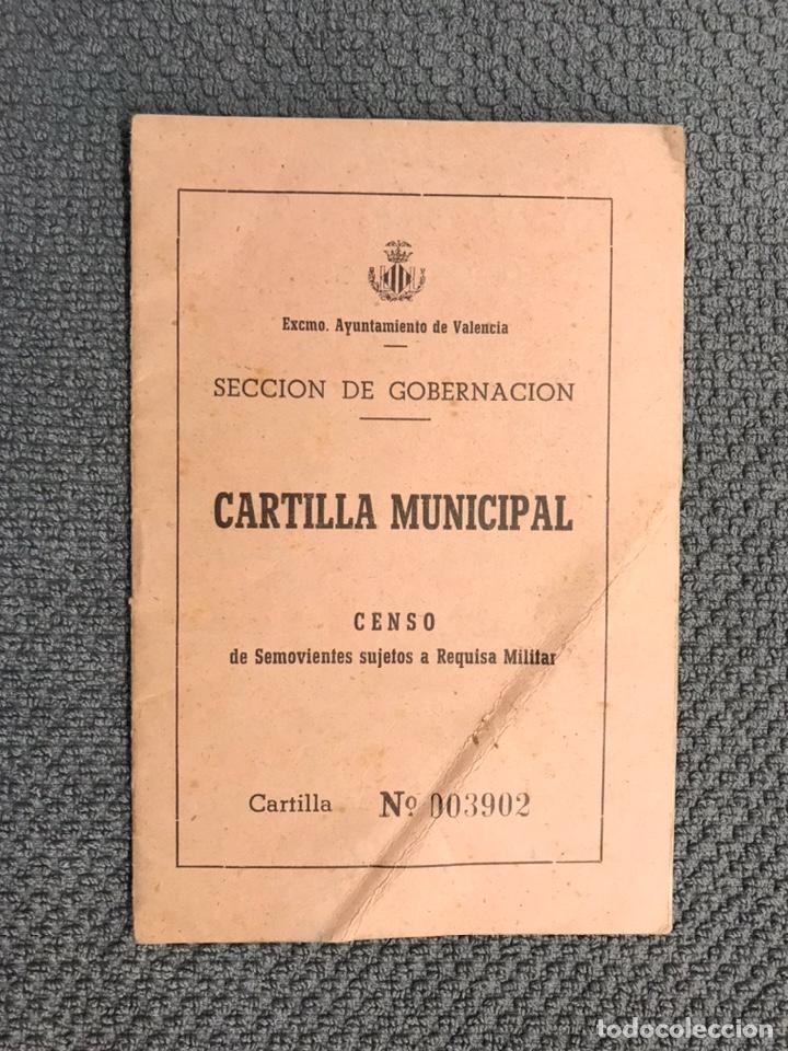 MILITAR VALENCIA. DOCUMENTO. CARTILLA MUNICIPAL. CENSO DE SEMOVIENTES SUJETOS A REQUISA MILITAR (Militar - Propaganda y Documentos)