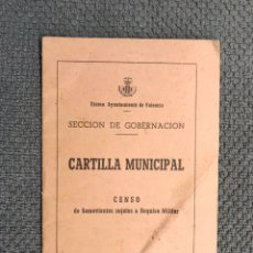 Militaria: MILITAR VALENCIA. DOCUMENTO. CARTILLA MUNICIPAL. CENSO DE SEMOVIENTES SUJETOS A REQUISA MILITAR. Lote 190482358