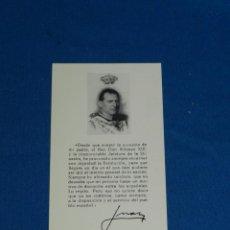 Militaria: (M) RECORDATORIO 24 JUNIO REY DON ALFONSO XIII - AUTOGRAFIADO ORIGINAL DE JUAN CARLOS I. Lote 190808527