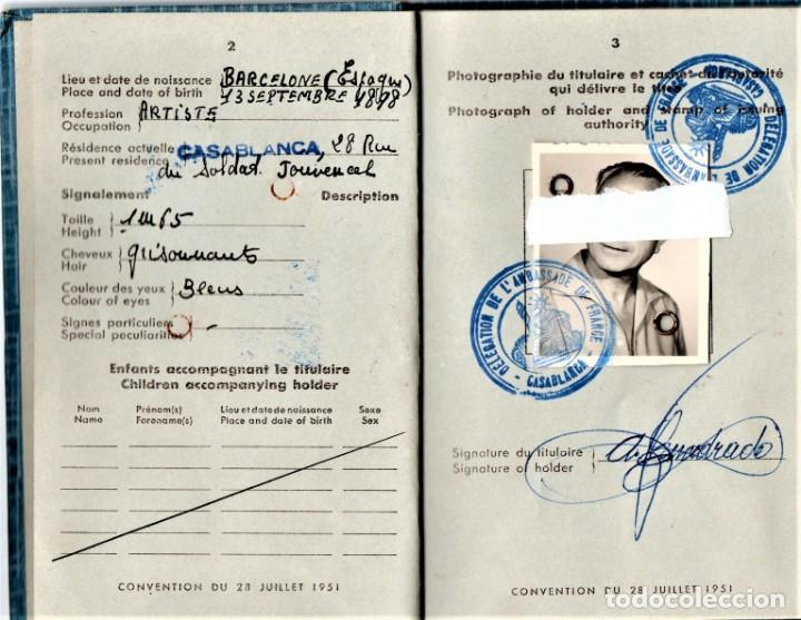 Militaria: GUERRA CIVIL ESPAÑOLA,DUCUMENTO REFUGIADO ANARQUISTA,CNT-A.I.T ESPAÑOL,1956 EXPEDIDO EN CASABLANCA - Foto 2 - 190976945
