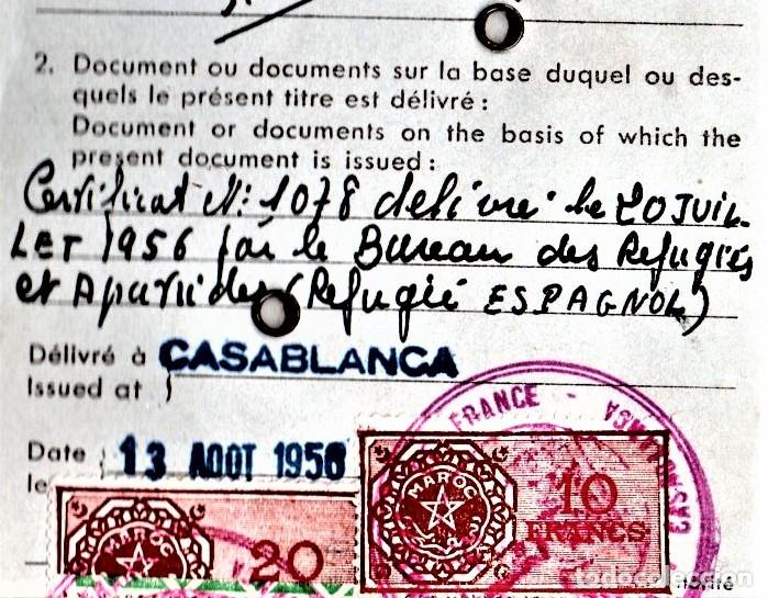 Militaria: GUERRA CIVIL ESPAÑOLA,DUCUMENTO REFUGIADO ANARQUISTA,CNT-A.I.T ESPAÑOL,1956 EXPEDIDO EN CASABLANCA - Foto 3 - 190976945