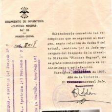 Militaria: GUERRA CIVIL ESPAÑOLA,DIVISION FLECHAS NEGRAS,CONCESION DE 3 CONDECORACIONES A OFICIAL DIVISION AZUL. Lote 192163956