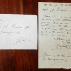 Militaria: GUERRA CIVIL, CARTA AL ALFEREZ JEFE DE LA POSICION DE MARIGRANDE, DE EL TENIENTE JEFE DEL DESTACAMEN. Lote 192215251