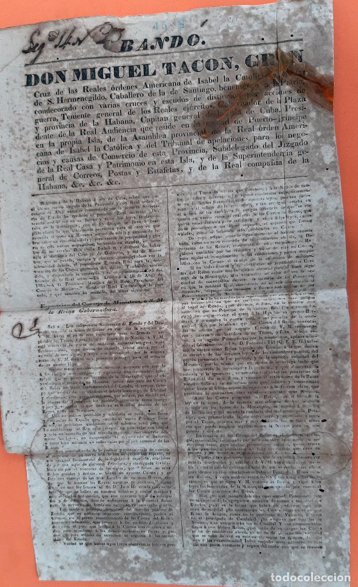 Militaria: DOCUMENTO MILITAR BANDO DON MIGUEL TACO CAPITAN GENERAL CUBA ORIGINAL D13 2 - Foto 2 - 192562720