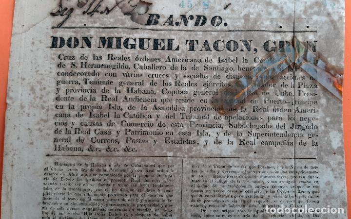 DOCUMENTO MILITAR BANDO DON MIGUEL TACO CAPITAN GENERAL CUBA ORIGINAL D13 2 (Militar - Propaganda y Documentos)
