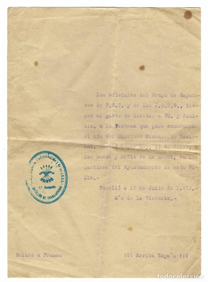 DOCUMENTO INVITACIÓN AL GRUPO DE ZAPADORES DE F.E.T. Y DE LAS J.O.N.S. EN FECHA 17/071939 (Militar - Propaganda y Documentos)