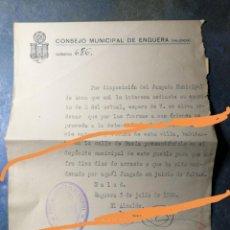 Militaria: DOCUMENTO.NOTIFICACIÓN DE DETENCIÓN.CONSEJO MUNICIPAL.ENGUERA.VALENCIA.ÉPOCA GUERRA CIVIL ESPAÑOLA.. Lote 192641651