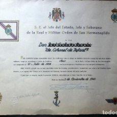 Militaria: (JX-200203)CONCESIÓN DE CRUZ DE LA REAL Y MILITAR ORDEN DE SAN HERMENEGILDO ,EX-DIVISION AZUL. Lote 192655520