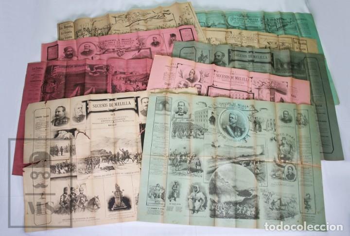 9 CARTELES / NOTICIARIO ILUSTRADO DE 1ª GUERRA DEL RIF, 1893-94 / SUCESOS DE MELILLA - LOS TIROLESES (Militar - Propaganda y Documentos)