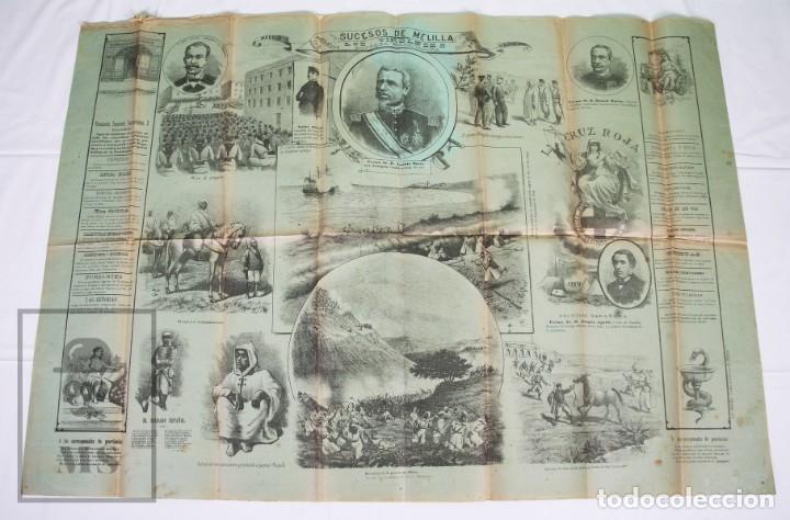 Militaria: 9 Carteles / Noticiario Ilustrado de 1ª Guerra del Rif, 1893-94 / Sucesos de Melilla - Los Tiroleses - Foto 2 - 192888580