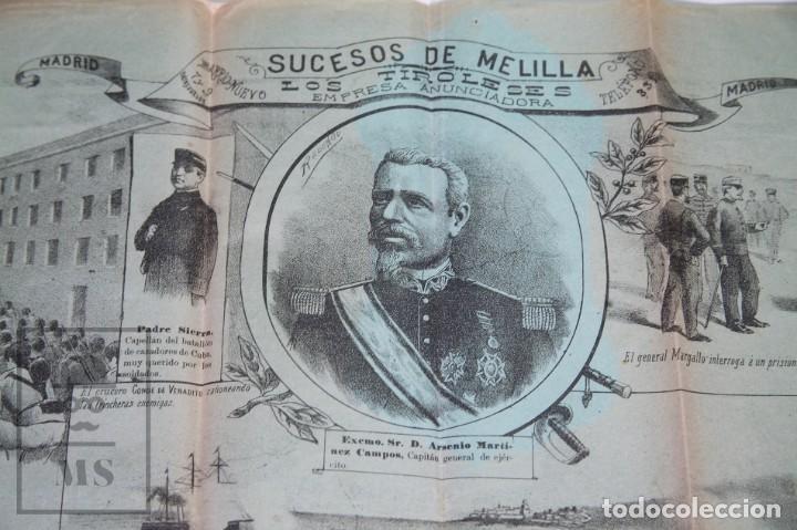 Militaria: 9 Carteles / Noticiario Ilustrado de 1ª Guerra del Rif, 1893-94 / Sucesos de Melilla - Los Tiroleses - Foto 5 - 192888580