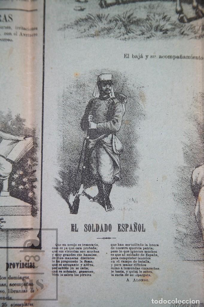 Militaria: 9 Carteles / Noticiario Ilustrado de 1ª Guerra del Rif, 1893-94 / Sucesos de Melilla - Los Tiroleses - Foto 6 - 192888580