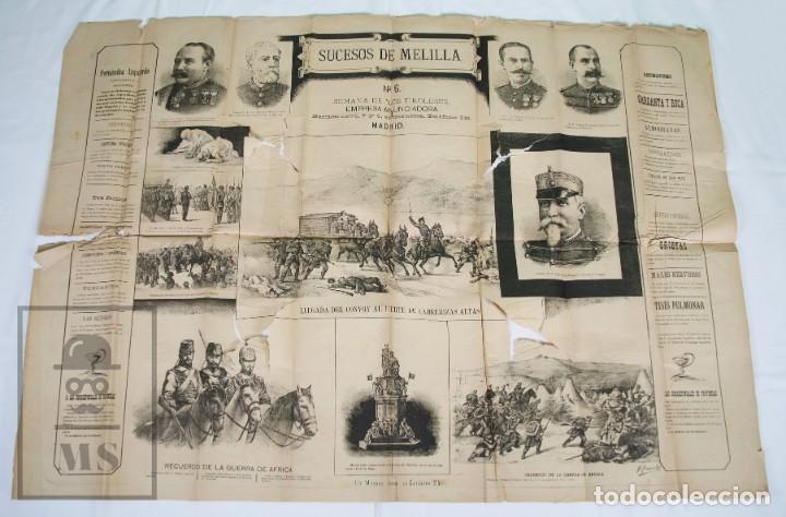 Militaria: 9 Carteles / Noticiario Ilustrado de 1ª Guerra del Rif, 1893-94 / Sucesos de Melilla - Los Tiroleses - Foto 8 - 192888580