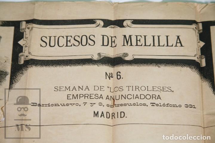 Militaria: 9 Carteles / Noticiario Ilustrado de 1ª Guerra del Rif, 1893-94 / Sucesos de Melilla - Los Tiroleses - Foto 9 - 192888580