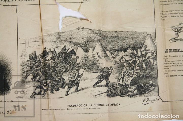 Militaria: 9 Carteles / Noticiario Ilustrado de 1ª Guerra del Rif, 1893-94 / Sucesos de Melilla - Los Tiroleses - Foto 10 - 192888580
