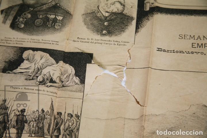 Militaria: 9 Carteles / Noticiario Ilustrado de 1ª Guerra del Rif, 1893-94 / Sucesos de Melilla - Los Tiroleses - Foto 15 - 192888580